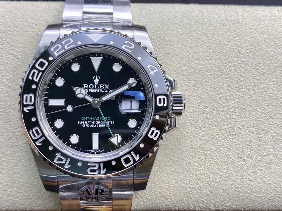 AR廠勞力士全黑格林尼治116710LN係列GMT裝3186機芯904鋼一比一複刻高仿手錶
