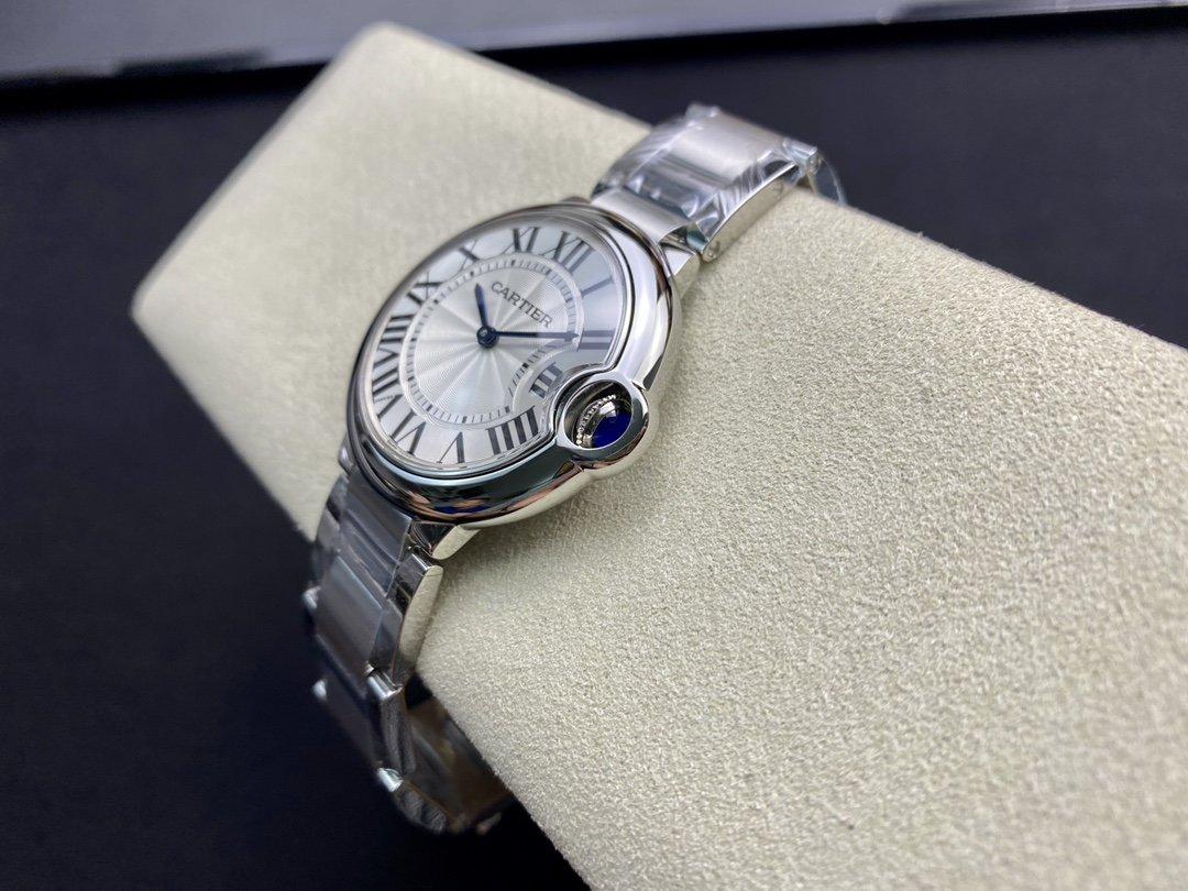 V6廠卡地亞藍氣球系列W6920087腕表(牛皮-精鋼白盤,石英,36毫米)