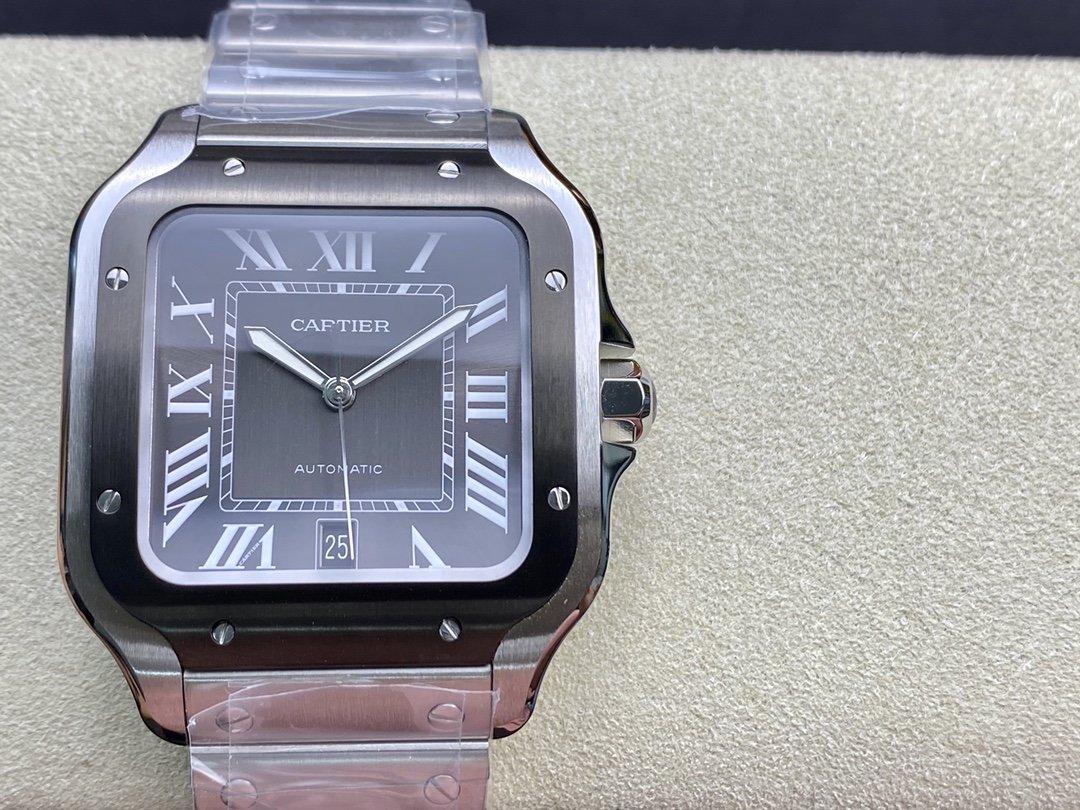 V6 Factory高仿卡地亞山度士腕表ADLC碳鍍層表圈40MM9015機芯複刻手錶