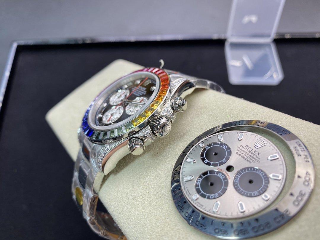 改裝專案: N廠勞力士4130機芯灰迪改彩虹迪 迪通拿 表殼真鑽 彩虹寶石圈口 碎鑽錶盤