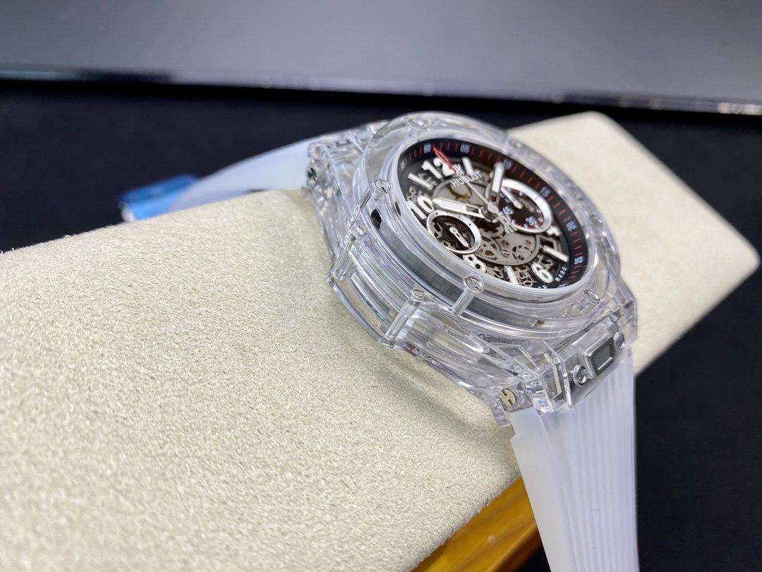 "HB廠恒寶/宇舶BIG BANG大爆炸系列411.JX.4802.RT""全透明腕表""V2版本45MM改原裝HUB.1242機芯複刻手錶"
