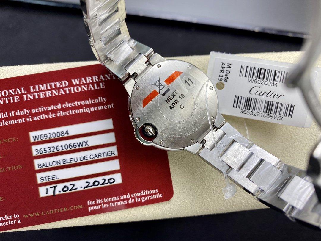 V6廠出品 V7版一表一卡一碼 卡地亞 藍氣球系列 33mm石英Cal.157機芯高仿手錶