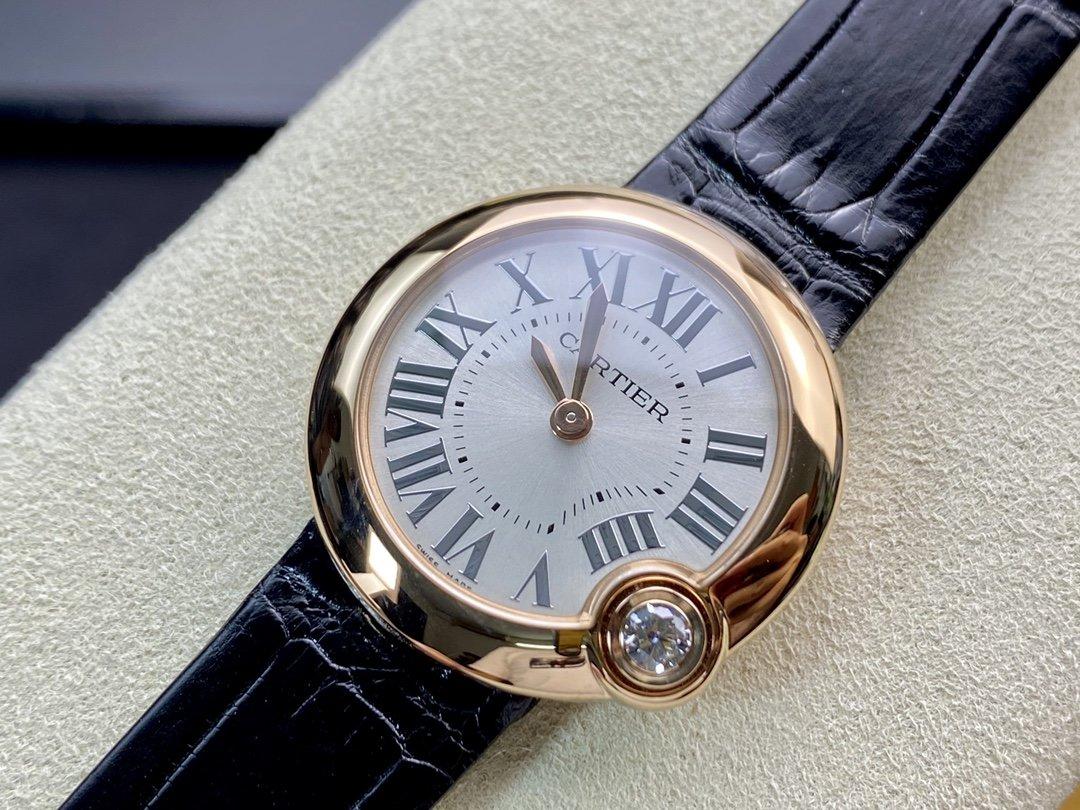 V6廠卡地亞白氣球尺寸30mm鱷魚皮帶瑞士157石英機芯女士複刻手錶