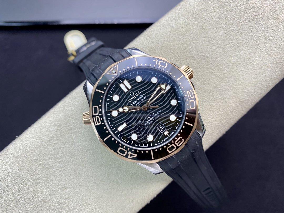 VS 高仿歐米茄 海馬300M間玫金黑麵 8800機芯複刻手錶