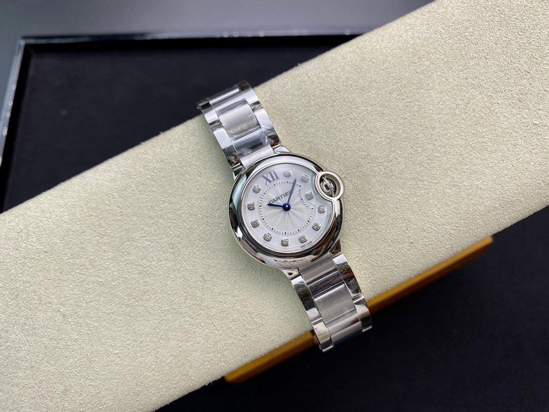 V6廠最新版V7版一表一卡一編碼卡地亞藍氣球小號直徑28mm瑞士057機芯高仿手錶