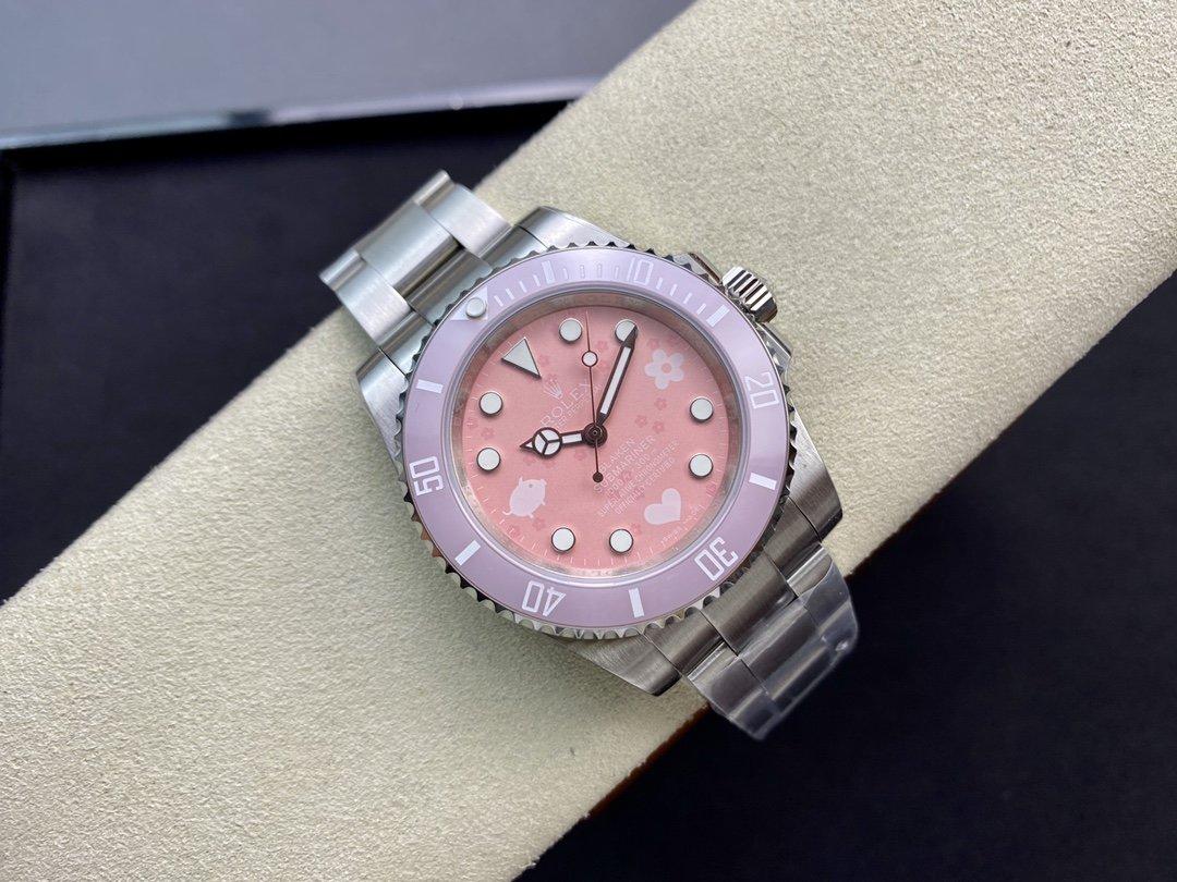 高仿勞力士ROLEX 粉水鬼限量版粉色小豬佩奇款女表搭配2836機芯複刻手錶
