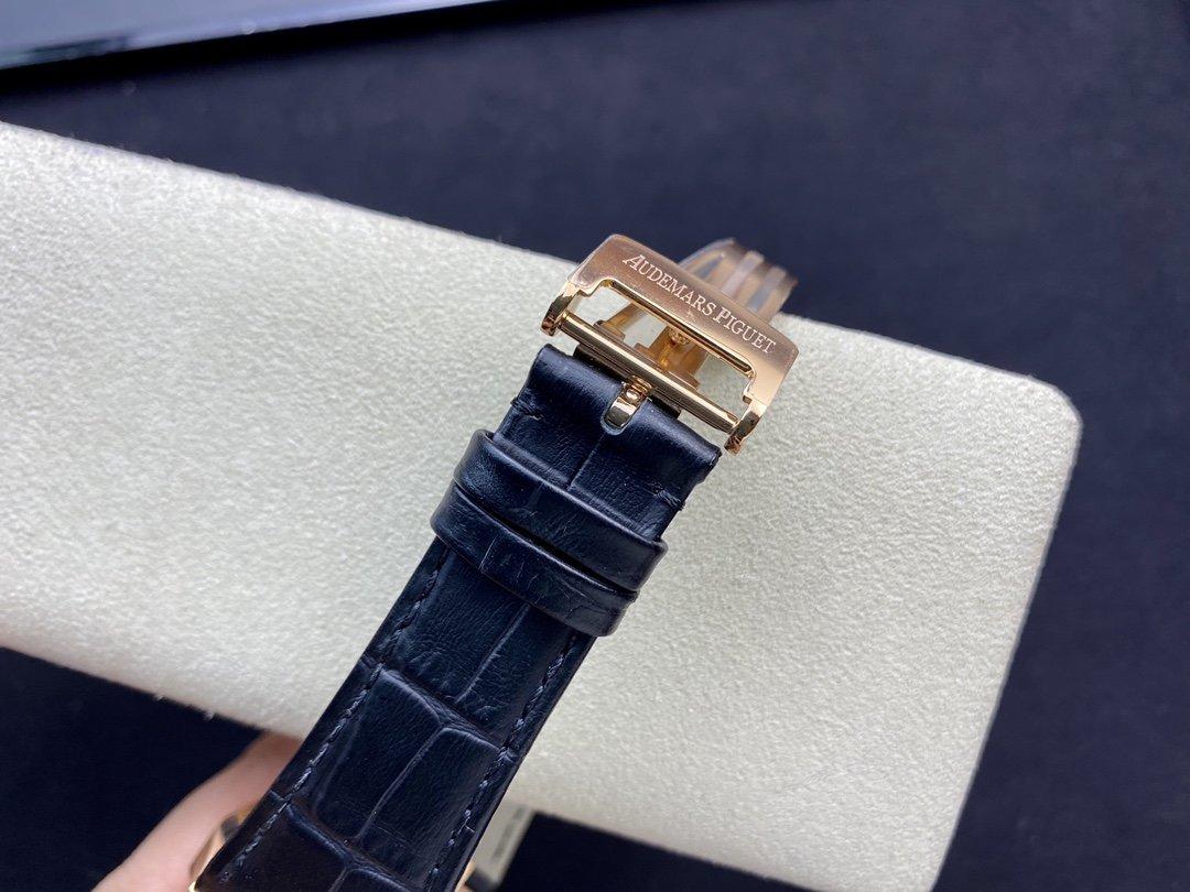 JF廠高仿愛彼皇家橡樹系列全玫瑰皮帶款AP15400配Cal.3120機芯41MM複刻手錶