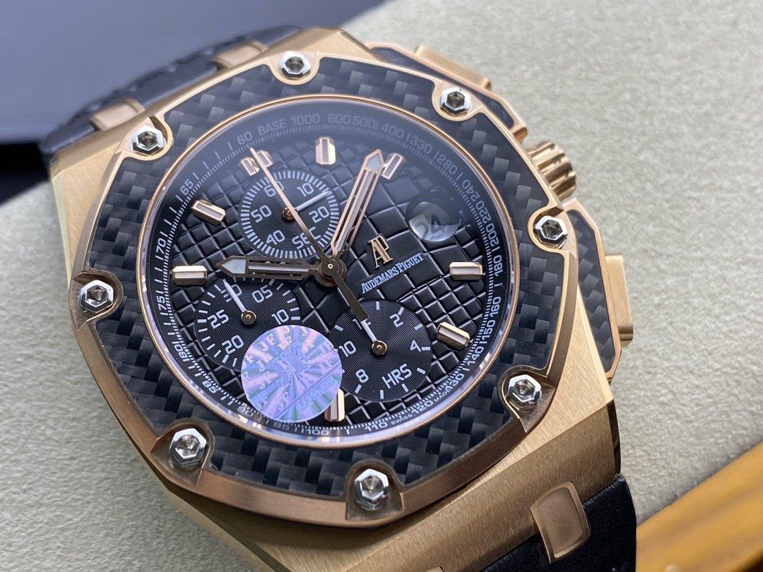JF厂高仿AP爱彼皇家橡树离岸计时系列蒙托亚碳纤维边框格纹表盘复刻正品Cal.2840机芯44mm复刻手錶