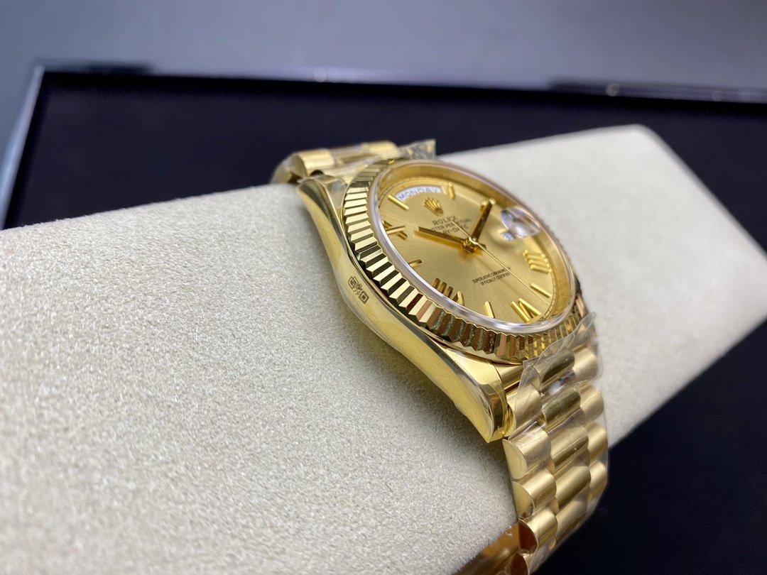 N廠高仿勞力士全金色 星期日志型 40mm V3版 3255機芯複刻手錶