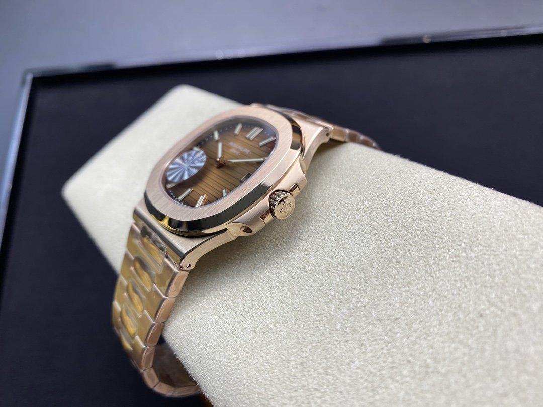 PF廠複刻屆最薄的鋼表之王百達翡麗5711 玫瑰金鸚鵡螺Cal.324機芯高仿手錶