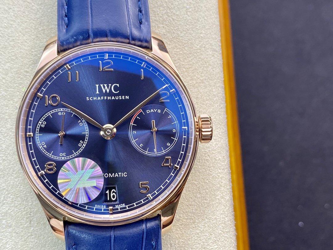YL厂万国葡七V5最高版本~新款蓝盘 万国 葡萄牙7 DAYS 七日链42MM高仿手表