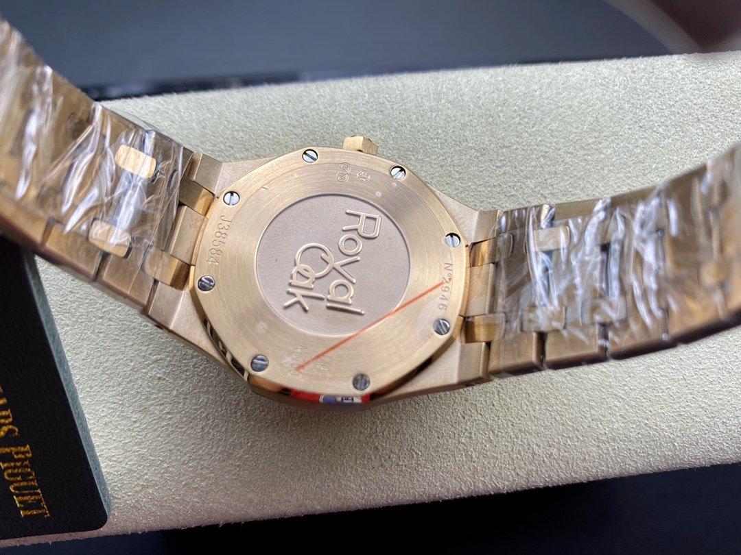 """OM廠愛彼 女表67653OR皇家橡樹系列""""霜金""""腕表瑞士石英機芯33MM複刻手錶"""