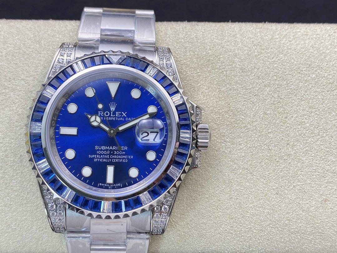 ROF廠渣男羅志祥同款高仿勞力士鑽圈藍水鬼SUB潛航者40MM複刻手錶