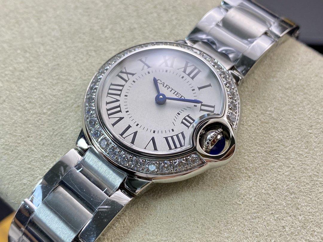 V6廠最新版V7版一表一卡一編碼卡地亞藍氣球小號28MM瑞士057機芯一比一複刻手錶