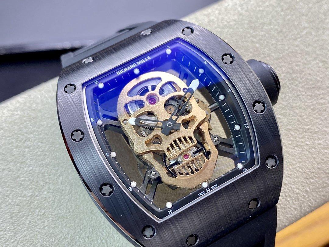 ZF廠高仿理查德米勒TZP黑陶瓷RM052系列骷髏頭複刻手錶