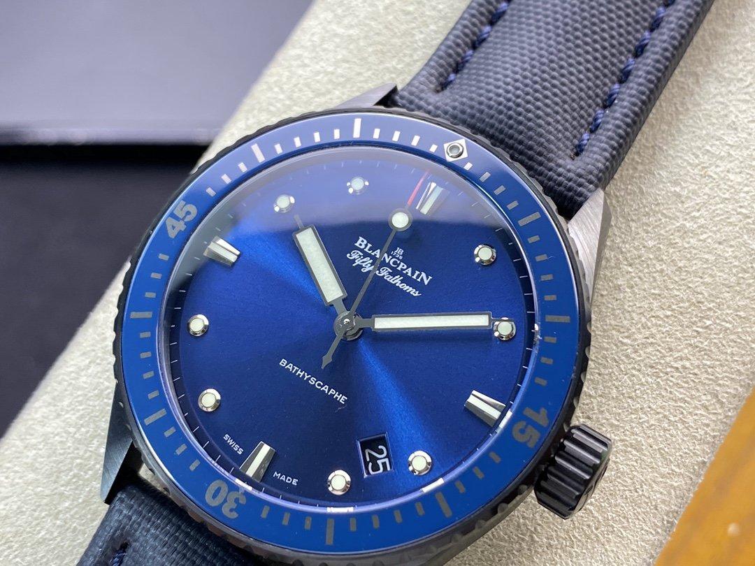 8F廠高仿寶珀(Blancpain)五十尋50尋系列 5000-1110-B52A自製Cal.1315機芯43MM複刻手錶