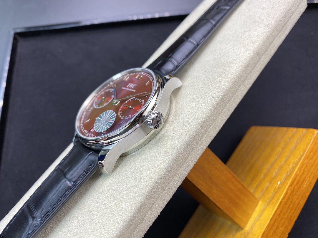 YL廠高仿萬國葡七V5最高版本~新款騷紅盤 萬國 葡萄牙7 DAYS 七日鏈複刻手錶
