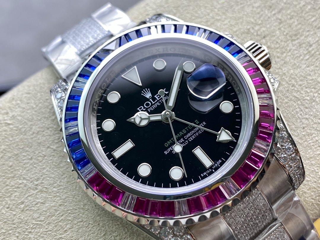 VR廠高仿勞力士 GMT 格林尼治 II 奢華滿鑽複刻手錶
