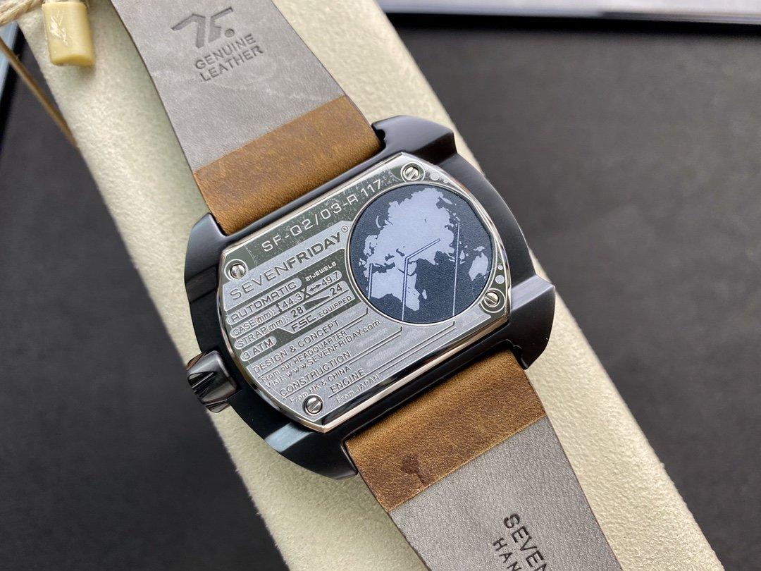 高仿七個星期五 Sevenfriday工業朋克Q系列Q2/03型號方形錶帶NFC晶片西鐵城機械機芯47MM一比一複刻手錶