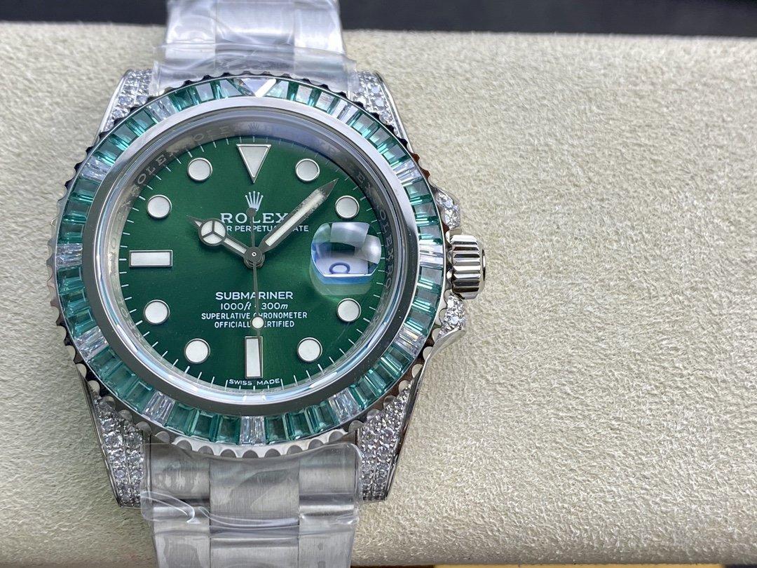 N廠高仿勞力士帝皇版神級後加鑽綠水鬼(綠幽靈)複刻手錶