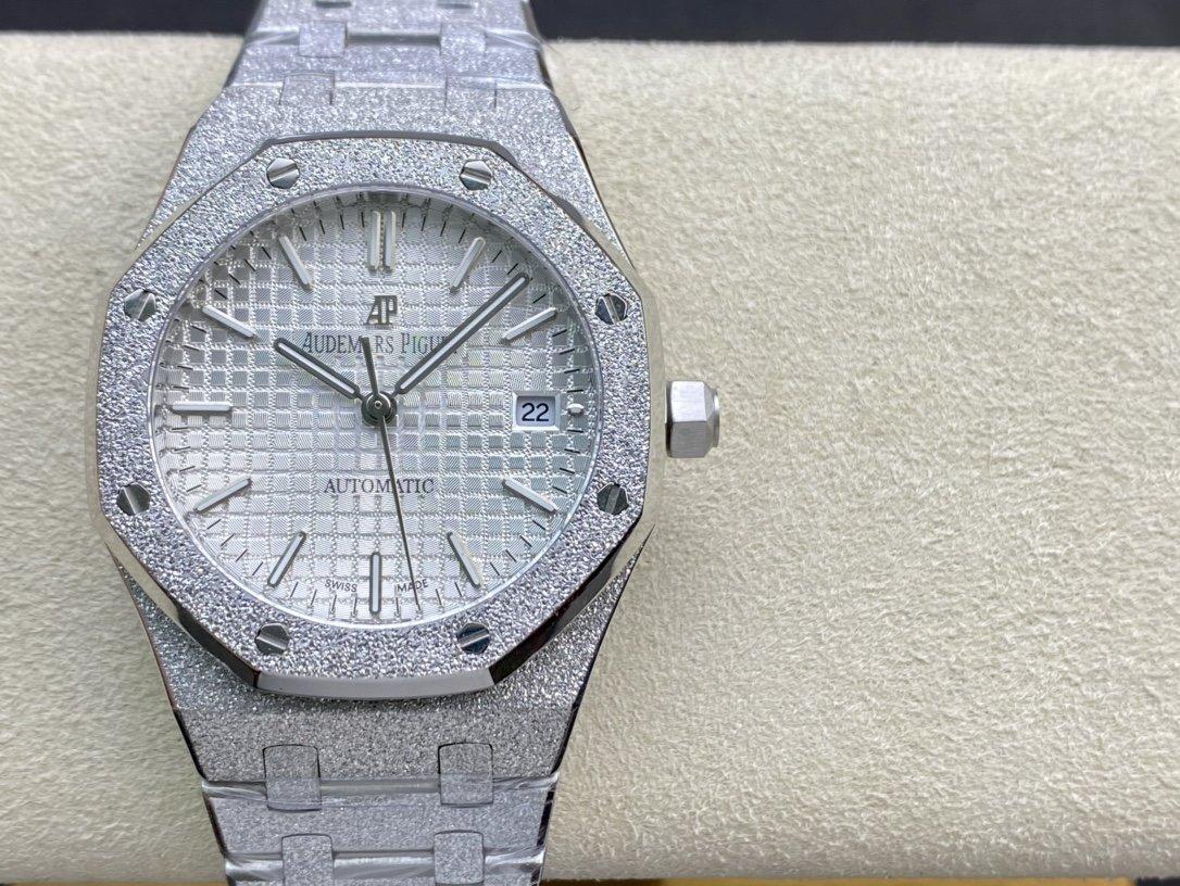 JH Factory複刻愛彼 AP皇家橡樹系列15454BC霜金腕表37mm複刻手錶