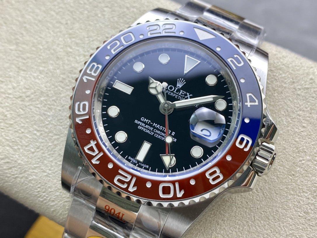 N廠手錶重大突破 再造巔峰高仿勞力士 格林尼治(可口可樂)一體成行紅藍陶瓷圈複刻手錶