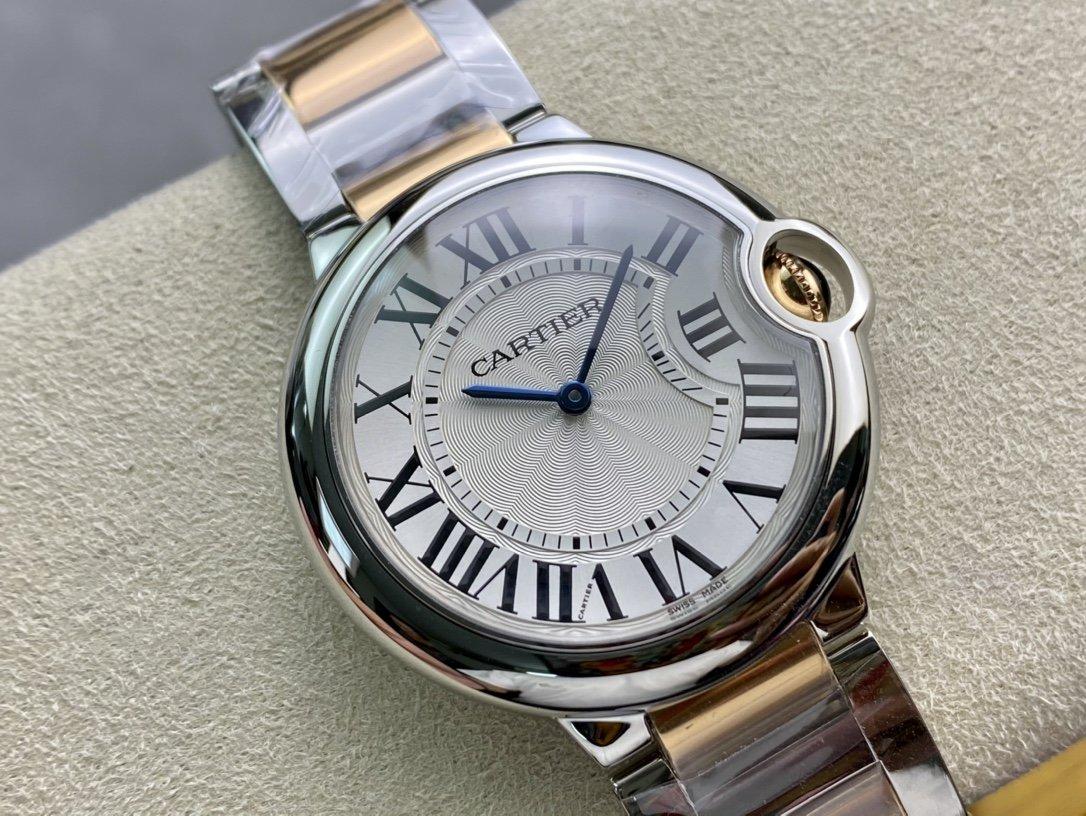 V6廠V7版一表一卡一碼高仿卡地亞藍氣球系列36mm 搭載石英機芯複刻手錶