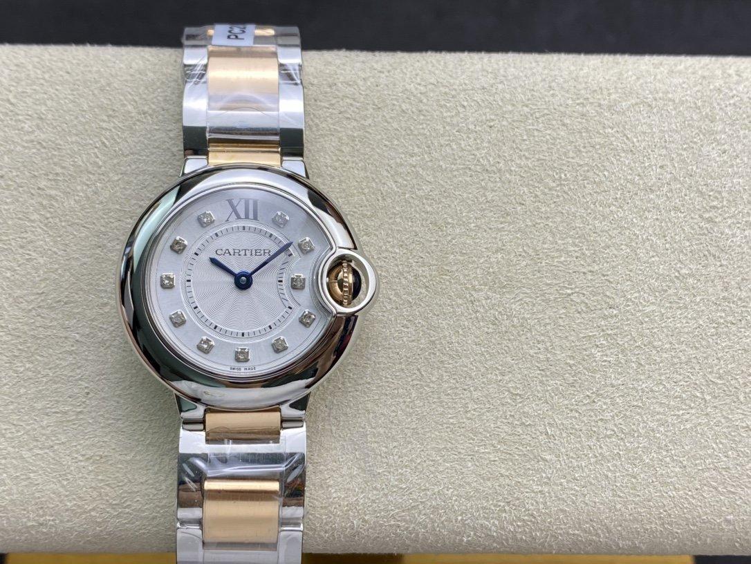 高端硬貨18k鍍金高仿卡地亞真鑽藍氣球28MM複刻手錶