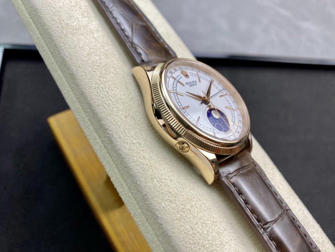 TW高仿勞力士切利尼系列3195機芯一個月轉一圈的真月相複刻手表