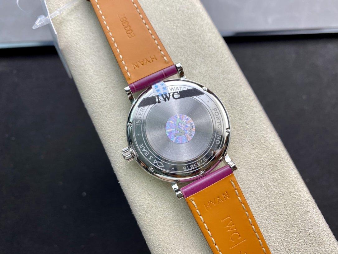 圖為鱷魚皮帶款ETA2892機芯V7廠高仿萬國柏濤菲諾 37mm複刻手錶