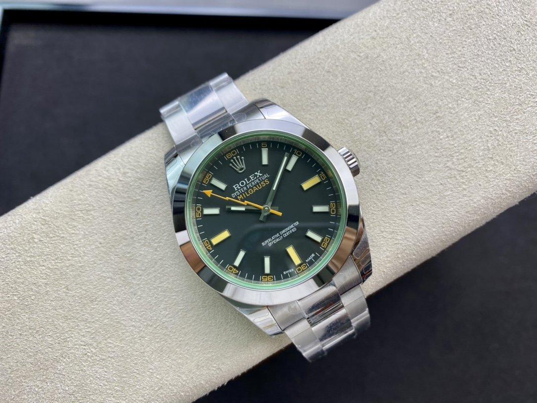 DJ高仿勞力士閃電綠玻璃 MILGAUSS系列116400複刻手錶