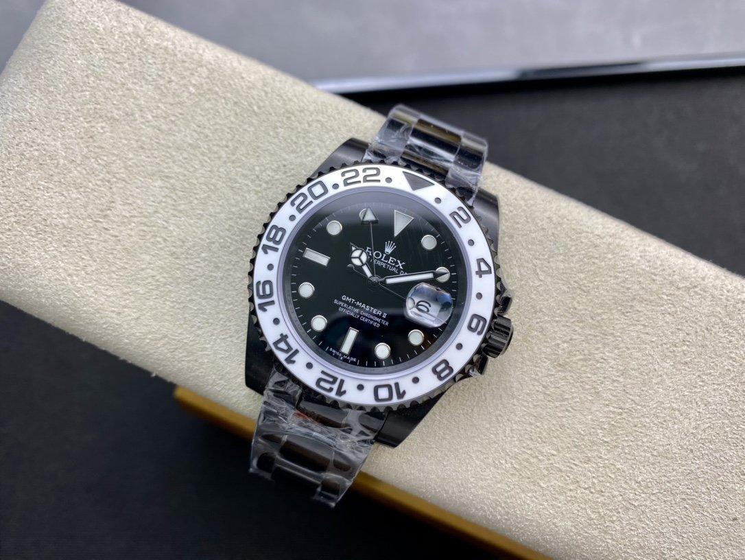 """VR Factory勞力士黑化格林尼治魔改""""GMT-Master II: Oreo""""此改裝款以勞力士116710為藍本複刻手錶"""