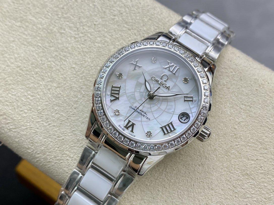 歐米茄淑女珠寶系列採用高端珍珠貝母錶盤時尚女表簡約三針精仿手錶