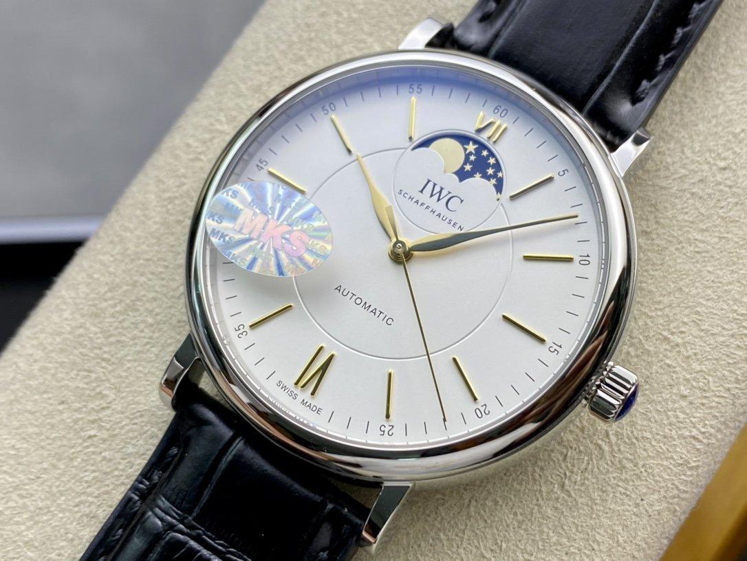 MKS高仿手錶萬國IWC波濤菲諾系列月相自動腕表複刻仿表