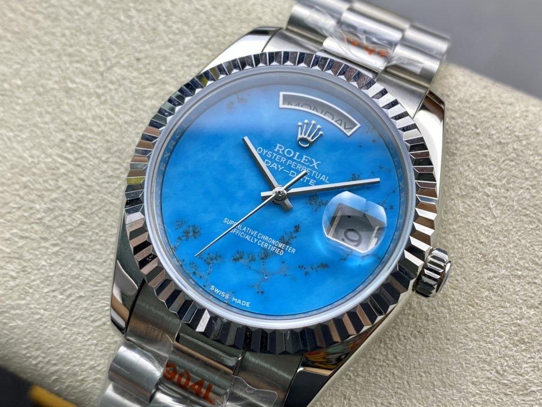 稀缺款RXW廠高仿勞力士日誌型(DAY-DATE)36mm有星期雙曆跟單曆複刻手錶