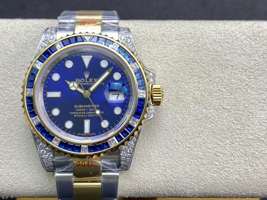 TW廠海外鑲鑽定制版奢華大作勞力士 滿鑽水鬼SUB潛水型複刻手錶