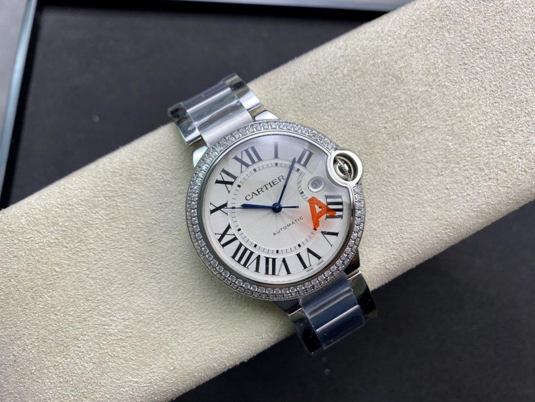 V6廠一表一卡一碼V8版卡地亞藍氣球可搭載皮帶和鋼帶2824機芯42mm複刻手錶