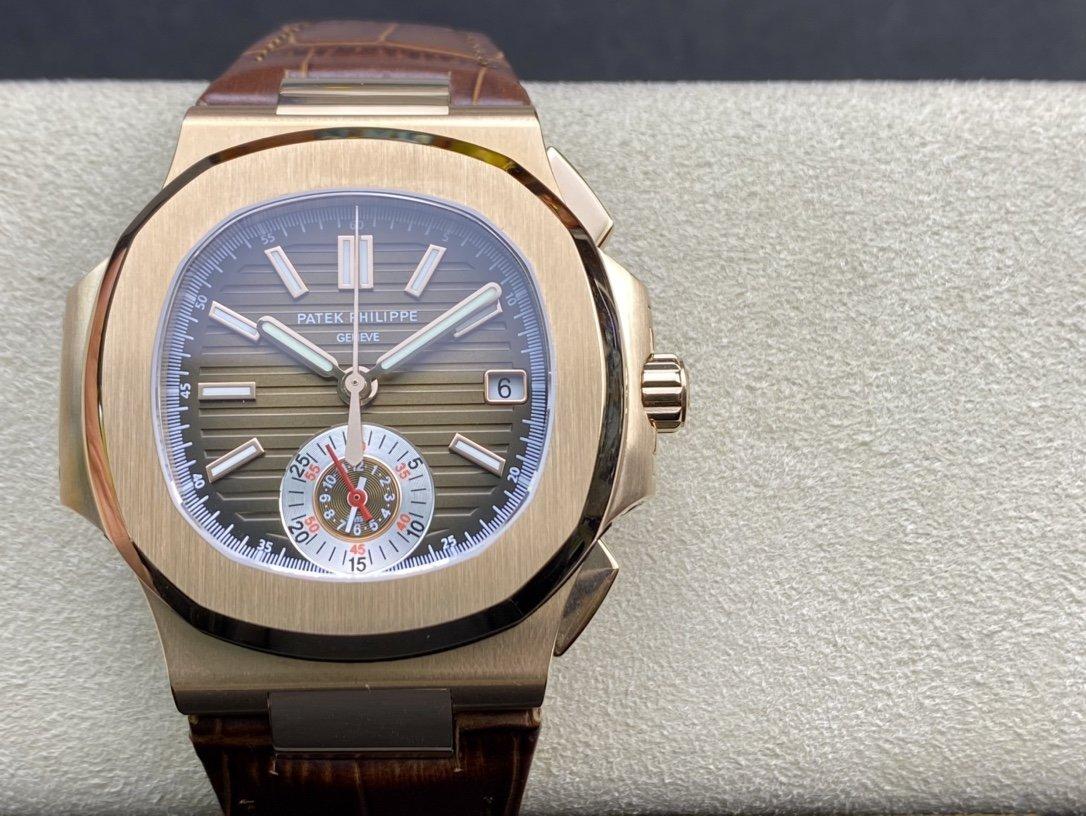 V2版真小秒3K工廠震撼推出百達翡麗鸚鵡螺5980/1A-014多功能計時腕表複刻手錶