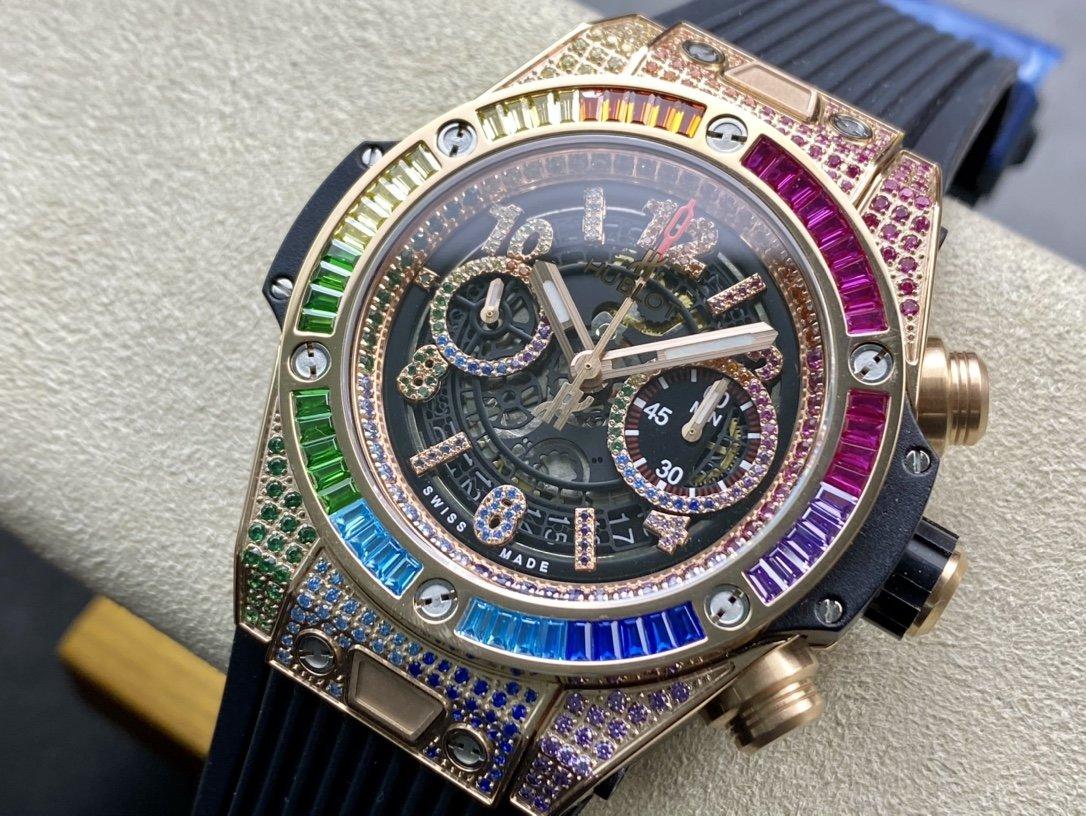 TA Factory恒寶宇舶HUBLOT獨家新款帕拉伊巴腕表彩虹滿鑽BIG BANG系列大爆炸複刻手錶