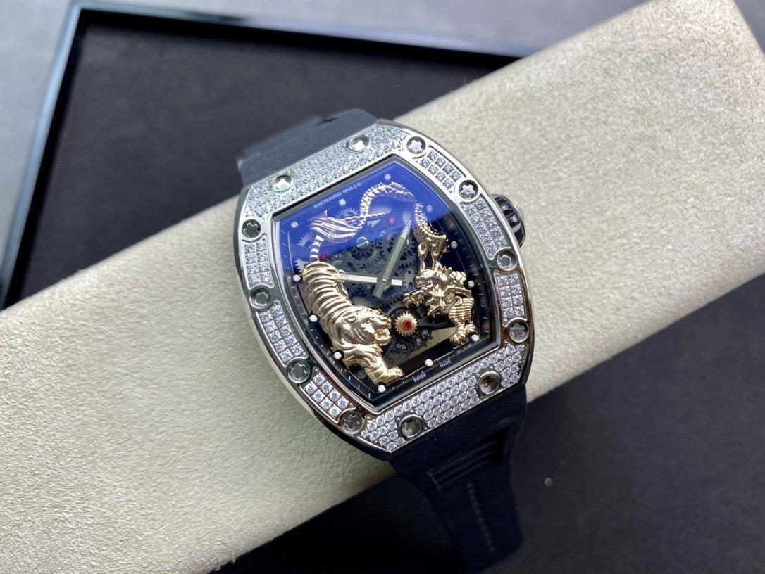 RICHARD MILLE 理查德米勒RM51-01龍虎爭霸滿鑽腕表高仿手錶