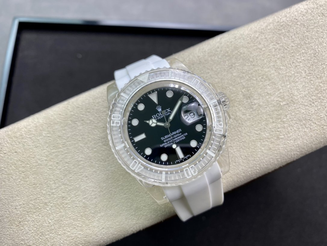 幻影實驗室勞力士聯名力作水晶系列透明水鬼個性改裝手錶