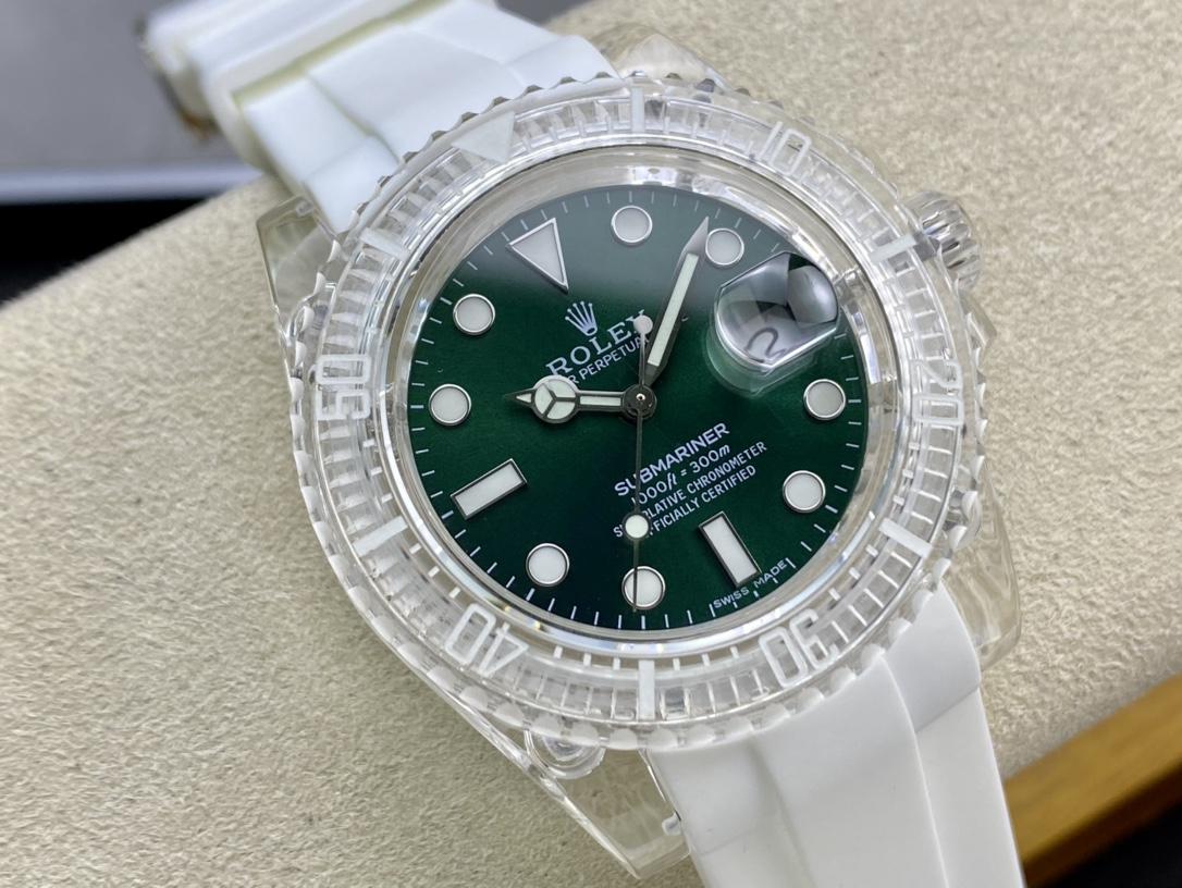 幻影實驗室高仿勞力士聯名力作水晶系列透明水鬼2836機芯N廠手錶