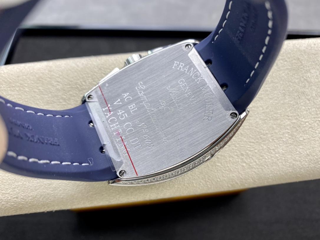 ABF廠手錶高仿法蘭克法穆蘭FM/V45/CC DT藍色遊艇計時機械複刻手錶