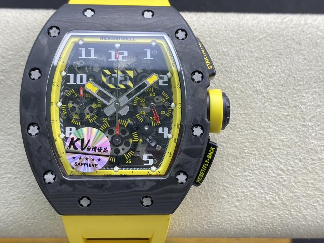 "KV Factory高仿理查德米勒RM011鍛造碳釺維""Yellow Storm""黃色風暴計時系列複刻手錶"