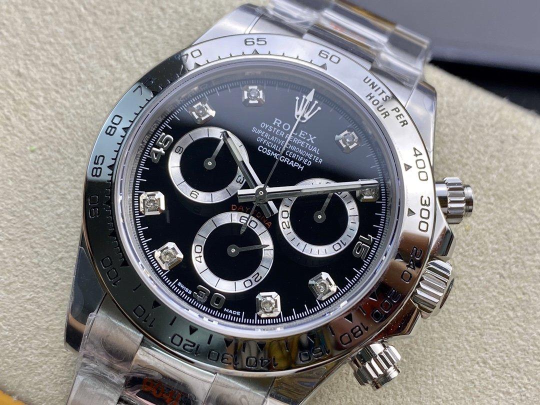 N廠手錶仿表勞力士白金迪黑盤迪通拿4130機芯複刻手錶,N廠手錶