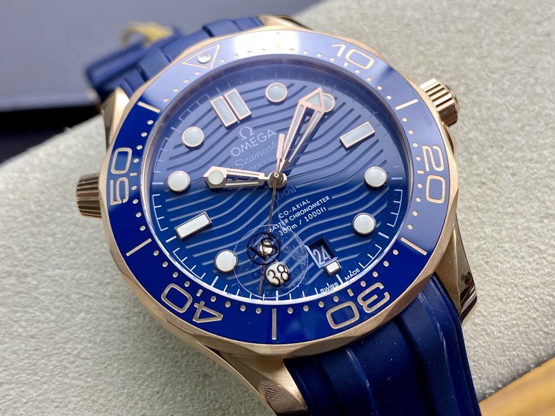 VS廠手錶仿表歐米茄首枚尊享版海馬300米全玫瑰金藍盤複刻手錶,N廠手錶
