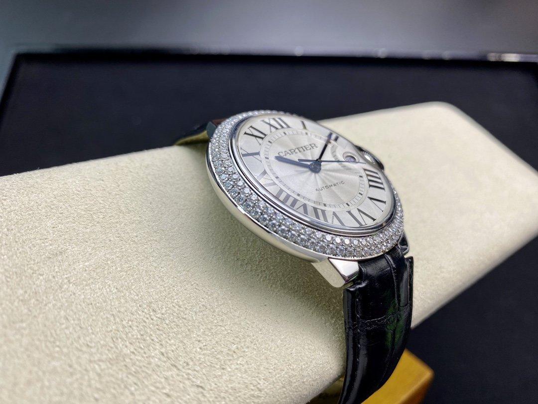 改裝專案:改莫桑鑽圈鱷魚皮帶V6廠手錶卡地亞藍氣球42mm,N廠手錶