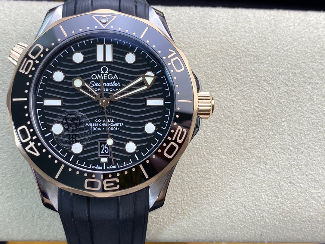 VS廠手錶仿表歐米茄新海馬300M間玫金黑面,N廠手錶