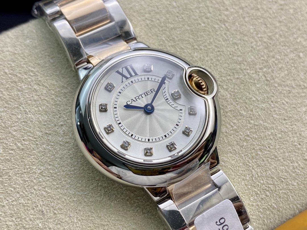 圖為尺寸28mm高端硬貨18k鍍金新款卡地亞真鑽藍氣球,N廠手錶