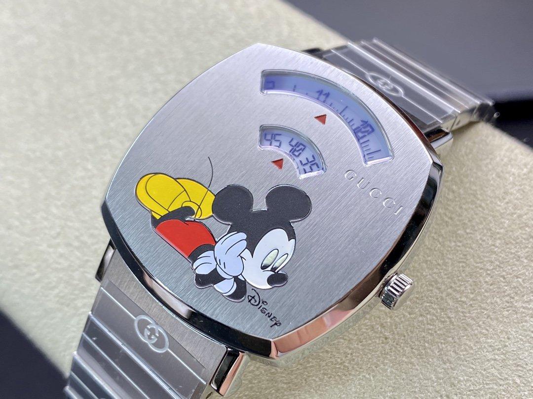 圖為尺寸35mm,另有38mm可選,Gucci grip×Disney米老鼠石英腕表,n廠手錶